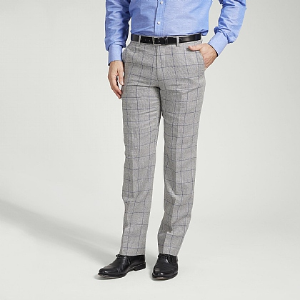 Silver and Blue Check Trouser