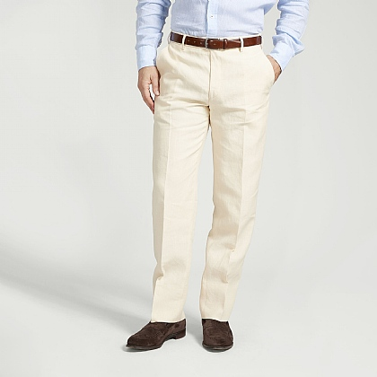 Cream Linen Unfinished Trouser