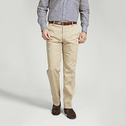 Beige Cotton Trouser