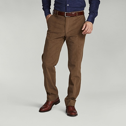 Plain Beige Cotton Casual Trouser