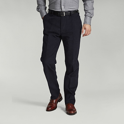 Plain Navy Cotton Casual Trouser