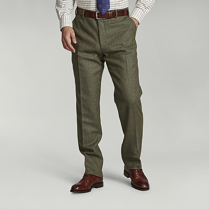 Dark Green Check Tweed Trouser