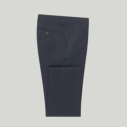 Navy Stretch Cotton Unfinished Chino