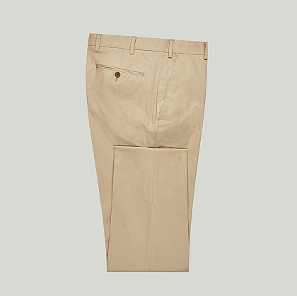 Beige Casual Cotton Unfinished Trouser