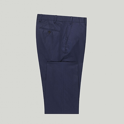 Navy Casual Cotton Unfinished Trouser