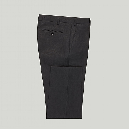 Black Linen Unfinished Trouser