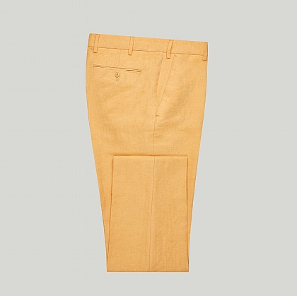 Yellow Linen and Cotton Unfinished Trouser