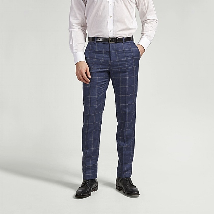 Navy Check Linen and Wool Unfinished Trouser