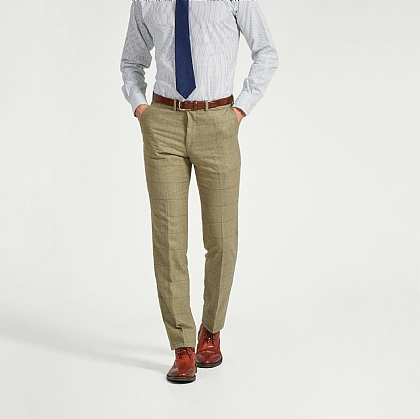 Sage Green Wool and Cotton Check Unfinished Trouser