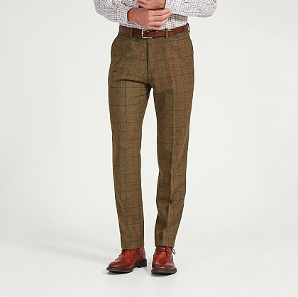 Khaki Tweed Check Unfinished Trouser
