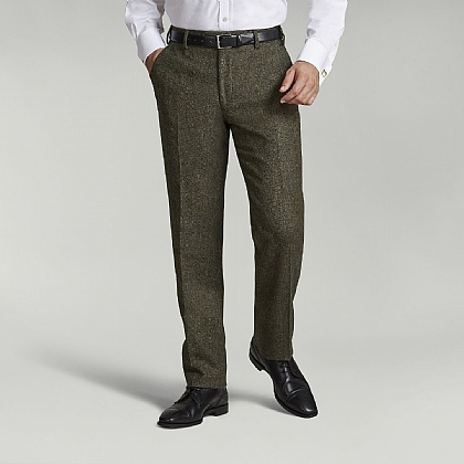 Green Donegal Tweed Unfinished Trouser
