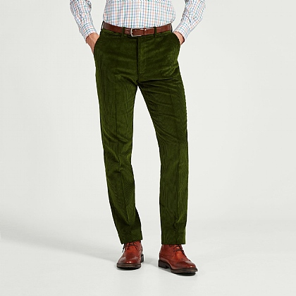 Olive Green Cord Unfinished Trouser