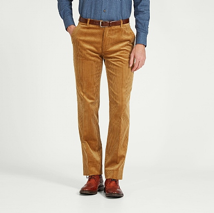 Fawn Yellow Cord Unfinished Trouser