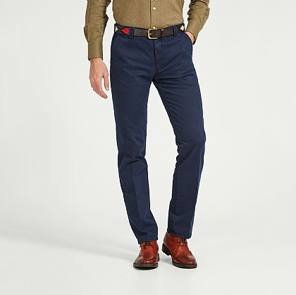 Dark Blue Meyer Cotton Casual Trouser
