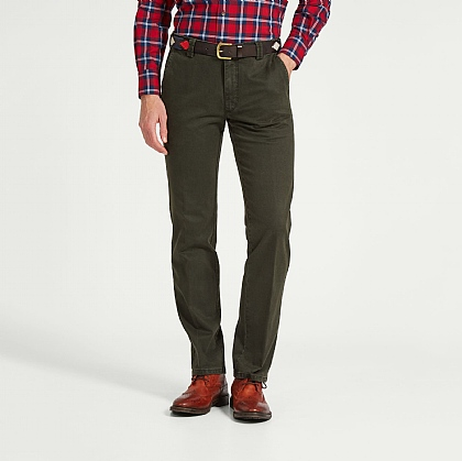 Khaki Green Meyer Cotton Casual Trouser