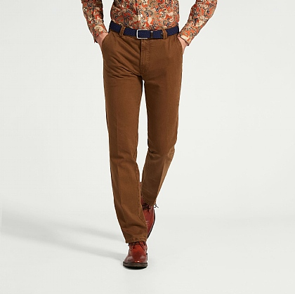 Tan Brown Meyer Cotton Casual Trouser