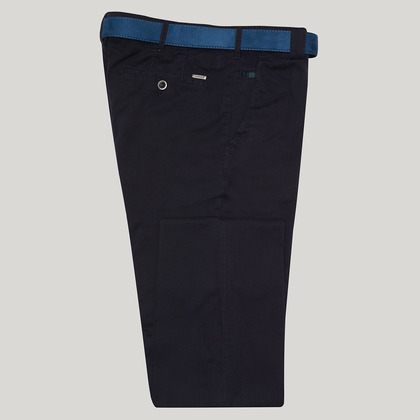 Navy Cotton Classic Fit Trousers