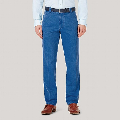 Blue Cotton Classic Fit Trousers