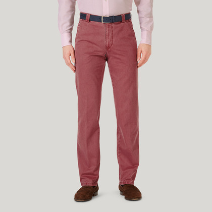 Pink Cotton Classic Fit Trousers