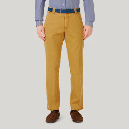 Yellow Cotton Classic Fit Trousers