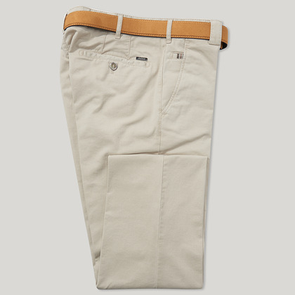 Beige Cotton Classic Fit Trousers