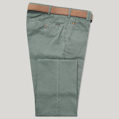 Green Cotton Classic Fit Trousers