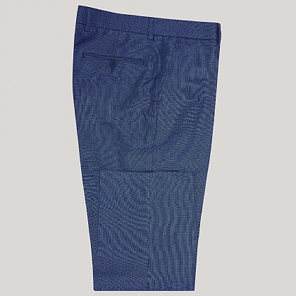 Blue Linen and Wool Mix Trouser