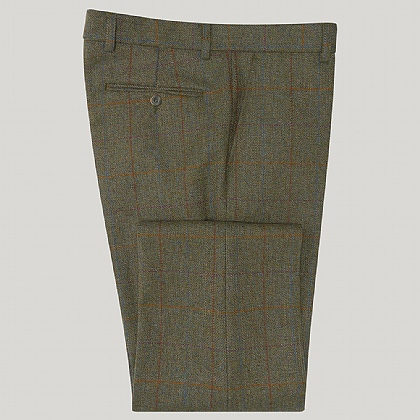 Green and Orange Check Lovat Tweed Unfinished Trouser