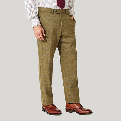 Green and Blue Check Tweed Trousers