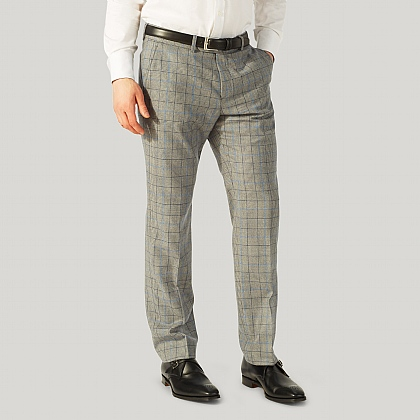Grey and Blue Prince of Wales Wool Trouser
