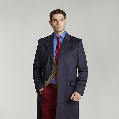 Navy Pure Cashmere Coat