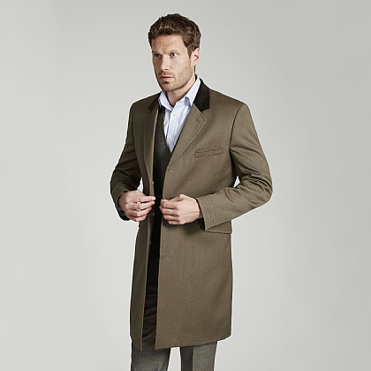 Beige Wool Covert Coat