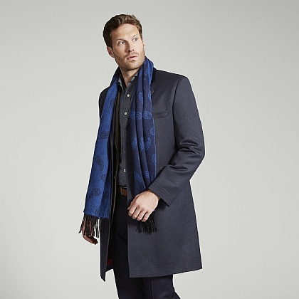 Navy Wool Covert Coat