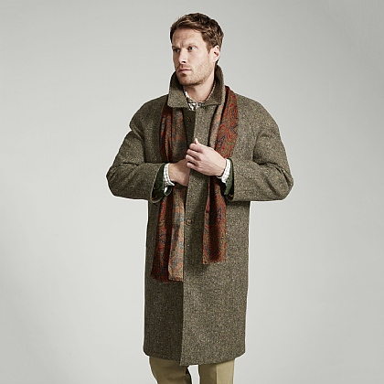 Rustic Green Irish Donegal Tweed Coat