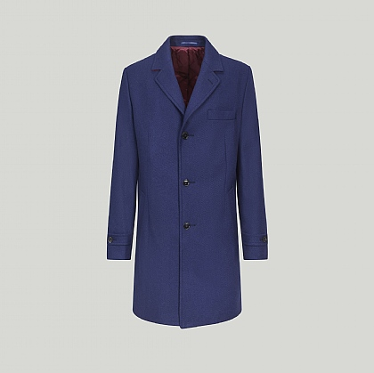 Blue Overcoat with Quilted Lining