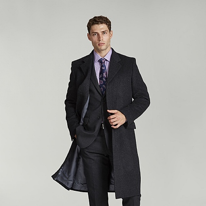Anthracite Grey Wool and Alpaca Coat