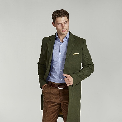 Lovat Green Wool and Cashmere Coat