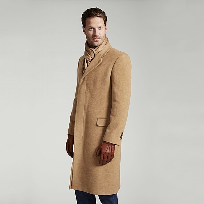 Beige Camel Hair & Wool Coat
