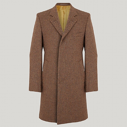 Rust Herringbone Tweed Coat