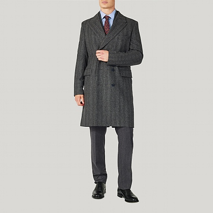 Grey Herringbone Wool Coat