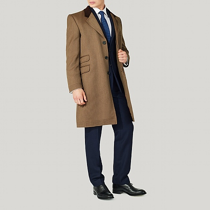 Beige 100% Wool Alfred Brown Covert Coat
