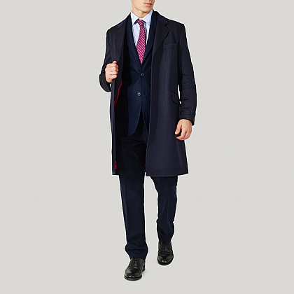 Navy 100% Wool Alfred Brown Covert Coat
