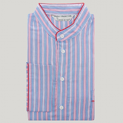 Blue and Pink Grandad Collar Stripe Nightshirt