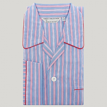 Blue and Pink Elastic Waist Stripe Pyjama
