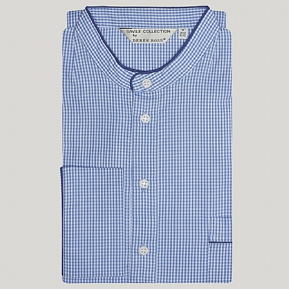 Blue Gingham with Royal Piping Cotton Nightshirt