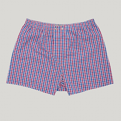 Red and Blue Gingham Check Boxer Shorts