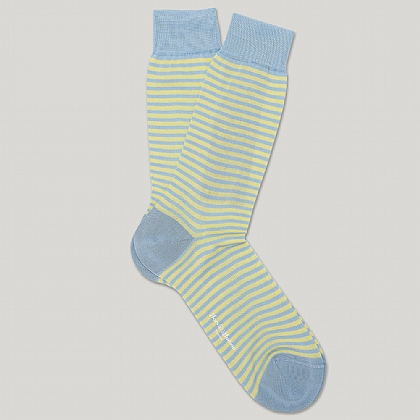 Sky and Yellow Striped Heel and Toe Socks