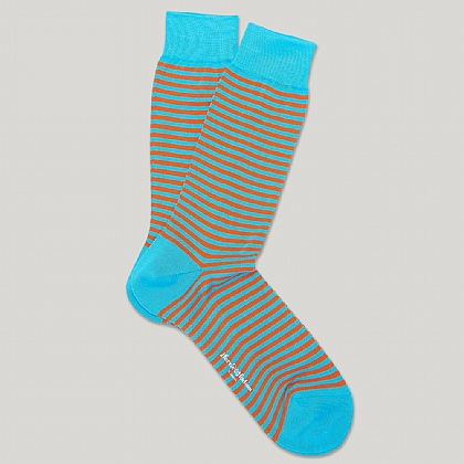 Turquoise and Orange Striped Heel and Toe Socks