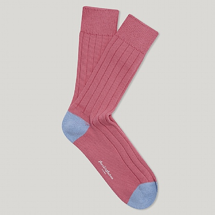 Pink and Sky Toe and Heel Heavy Cotton Sock
