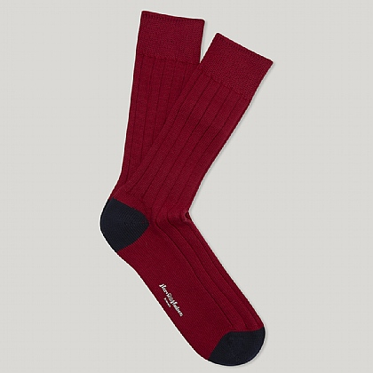 Red and Navy Toe and Heel Heavy Cotton Sock